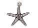 10 - TierraCast Pewter CHARM Starfish, Antique Silver Plated