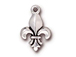10 - TierraCast Pewter CHARM Fleur de Lis Antique Silver Plated