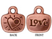 10 - TierraCast Pewter CHARM Love / Heart with Stone Setting, Antique Copper Plated