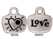 10 - TierraCast Pewter CHARM Love / Heart with Stone Setting, Antique Silver Plated