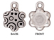 10 - TierraCast Pewter CHARM Flower with Round Mounting, Antique Silver Plated
