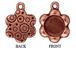 5 - TierraCast Pewter CHARM Flower with Round Mounting, Antique Copper Plated