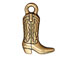 10 - TierraCast Pewter CHARM Western Boot Antique Gold Plated