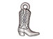 10 - TierraCast Pewter CHARM Western Boot Antique Silver Plated