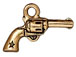 10 - TierraCast Pewter CHARM Six Shooter Antique Gold Plated