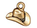 10 - TierraCast Pewter CHARM Cowboy Hat Antique Gold Plated