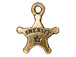 10 - TierraCast Pewter CHARM Sheriff' s Badge Antique Gold Plated