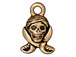 10 - TierraCast Pewter CHARM Pirate Skull Antique Gold Plated