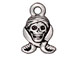 10 - TierraCast Pewter CHARM Pirate Skull Antique Silver Plated