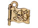 10 - TierraCast Pewter CHARM Jolly Roger Flag Antique Gold Plated