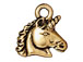 10 - TierraCast Pewter CHARM Unicorn Antique Gold Plated