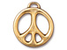 5 - TierraCast Pewter CHARM Peace Sign, Bright Gold Plated