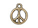 10 - TierraCast Pewter CHARM Peace Sign, Oxidized Brass Finish