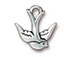 10 - TierraCast Pewter CHARM Swallow, Antique Silver Plated