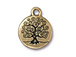 10 - TierraCast Pewter Tree Of Life Drop, Antique Gold Plated