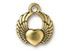 10 - TierraCast Pewter DROP Winged Heart, Antique Gold Plated