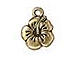 10 - TierraCast Pewter DROP  Hibiscus, Antique Gold Plated