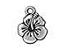 10 - TierraCast Pewter DROP  Hibiscus, Antique Silver Plated