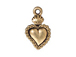 10 - TierraCast Pewter DROP Sacred Heart Milagro, Antique Gold Plated