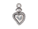 10 - TierraCast Pewter DROP Sacred Heart Milagro, Antique Silver Plated