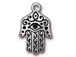 5 - TierraCast Pewter CHARM Large Hamsa Antique Silver Plated