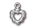 10 - TierraCast Pewter CHARM Small Sacred Heart Antique Silver Plated