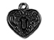 5 - TierraCast Pewter DROP Heart Frame, Black Finish