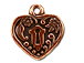 5 - TierraCast Pewter DROP Heart Frame, Antique Copper Plated