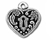5 - TierraCast Pewter DROP Heart Frame, Antique Silver Plated