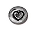 20 - TierraCast Pewter BEAD Symbol Heart Antique Rhodium Plated