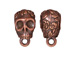 5 - TierraCast Pewter BAIL Skull with Large Hole Antique Copper Plated
