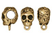 5 - TierraCast Pewter BAIL Skull with Large Hole Antique Gold Plated