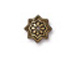 20 - TierraCast Pewter BEAD CAP Talavera Star, Antique Gold Plated