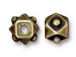 10 - TierraCast Pewter BEAD Faceted Cube Oxidized Brass