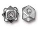 10 - TierraCast Pewter BEAD Faceted Cube Bright Rhodium Plated