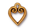 10 - TierraCast Pewter CHARM Classic Heart Antique Gold Plated