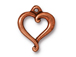 10 - TierraCast Pewter CHARM Jubilee Heart, Antique Copper Plated