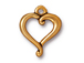 10 - TierraCast Pewter CHARM Jubilee Heart, Antique Gold Plated