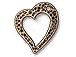 10 - TierraCast Pewter Floating Heart Charm Oxidized Brass Plated