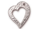 10 - TierraCast Pewter Floating Heart Charm Bright Rhodium Plated