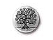10 - TierraCast Pewter Button, Tree Of Life Antique Silver Plated