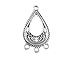 1-to-3 Flat Pear Shape Chandelier Earring Pewter Link