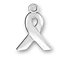 Pewter Plain Ribbon Awareness Charm - (17.5 X 10.5mm)