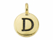 TierraCast Pewter Alphabet Charm Antique Gold Plated -  D