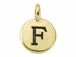 TierraCast Pewter Alphabet Charm Antique Gold Plated -  F