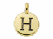 TierraCast Pewter Alphabet Charm Antique Gold Plated -  H