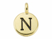 TierraCast Pewter Alphabet Charm Antique Gold Plated -  N
