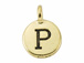 TierraCast Pewter Alphabet Charm Antique Gold Plated -  P