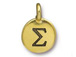 TierraCast Pewter Alphabet Charm Antique Gold Plated -  Sigma