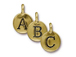 Pewter Alphabet Charms Antique Gold Plated -  Starter Set of 26 Charms